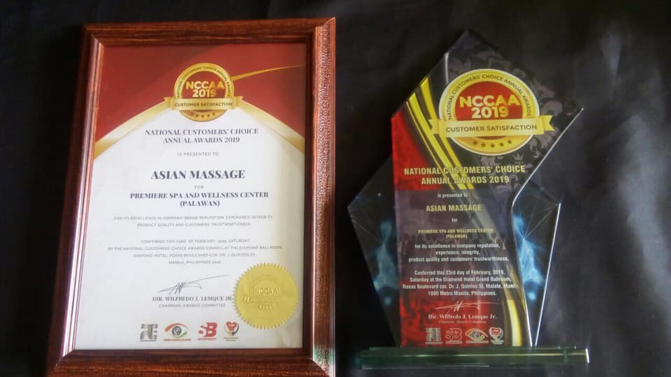 "Asian Massage Awarded as ""Outstanding Massage And Spa Lounge in Iloilo City"" and ""Premiere Spa & Wellness Center in Palawan"" by National Customers Choice Annual Awards 2019"